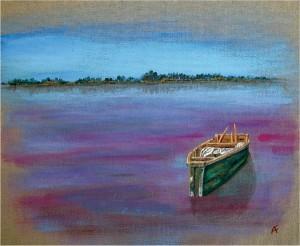 Lac rose, acrylique sur toile, 40x20 cm - VENDU