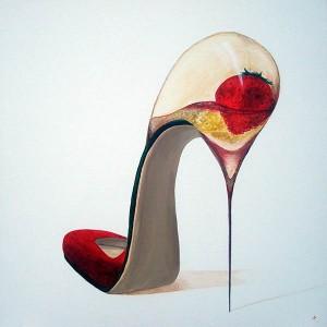 Chaussure 2, acrylique sur toile, 50x50