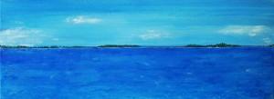 Eau bleue, acrylique sur toile, 80x30 cm