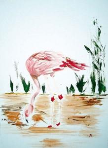 Flamand, acrylique sur toile, 33x46 cm