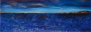 Lac nuageux, acrylique sur toile, 90x30 cm - VENDU