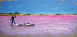 Barque au Lac Rose, acrylique sur toile, 40x20 cm