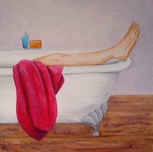 Le bain, acrylique sur toile, 60x60 - VENDU