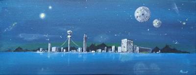 Nuit, acrylique sur toile, 50x20 cm - VENDU