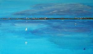 Palavas bleu, acrylique sur toile, 55x33 cm