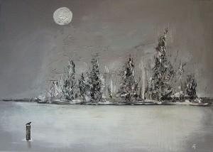 Paysage hivernal, acrylique sur toile, 33x45.5 cm