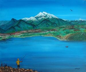 Pêcheur au Canigou, acrylique sur toile, 60x80 cm - VENDU