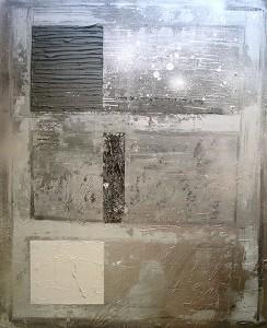 Abstrac argent, acrylique sur toile, 60x73 cm