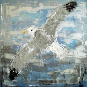 Goéland, acrylique sur toile, 60x60 cm